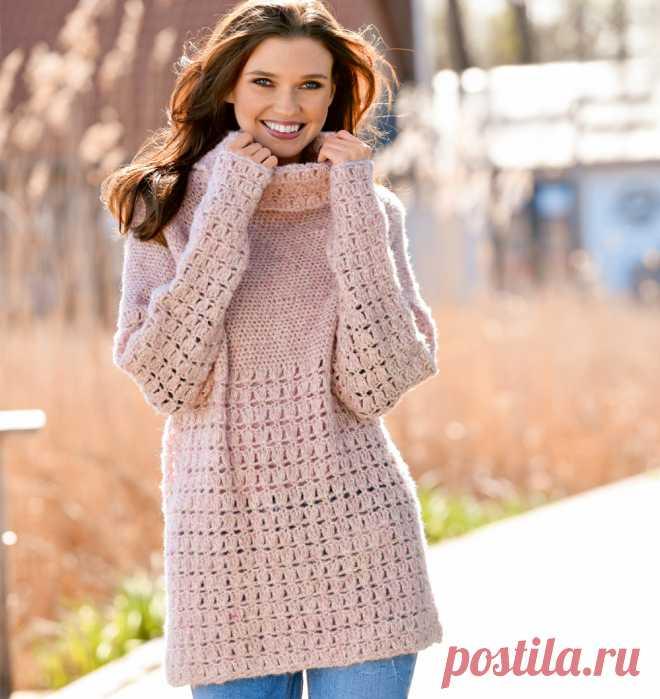 Розовый меланжевый свитер