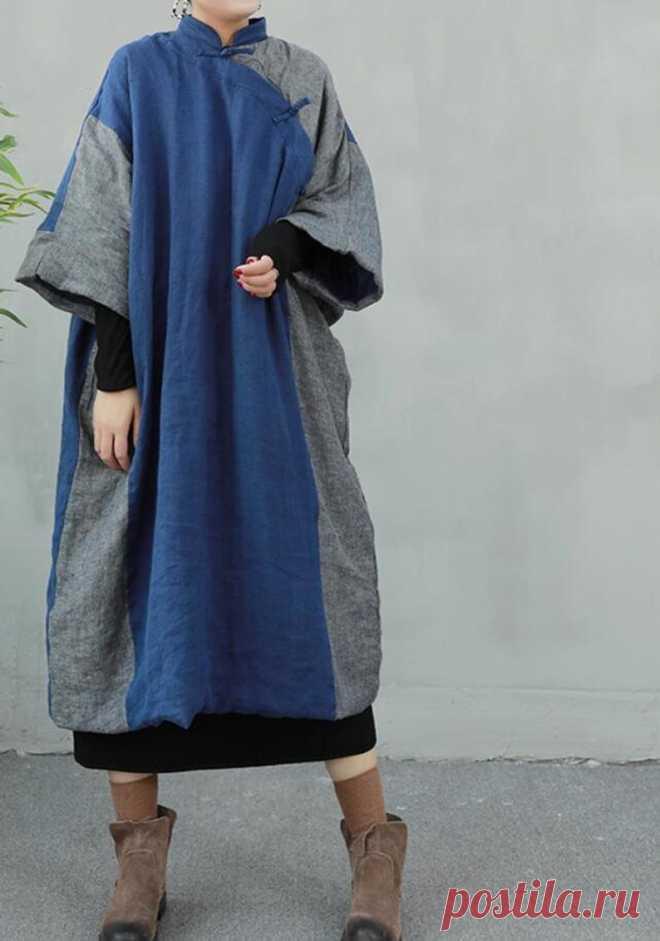 Winter Womens Linen dresses midi padded dress oversized | Etsy