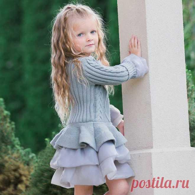 Вязаное осенне зимнее мини платье пачка для девочек, Повседневные детские платья с длинными рукавами и кружевным плетением для девочек, одежда, платье принцессы на свадьбу|girls dress|kids dresses for girlsdresses for girls