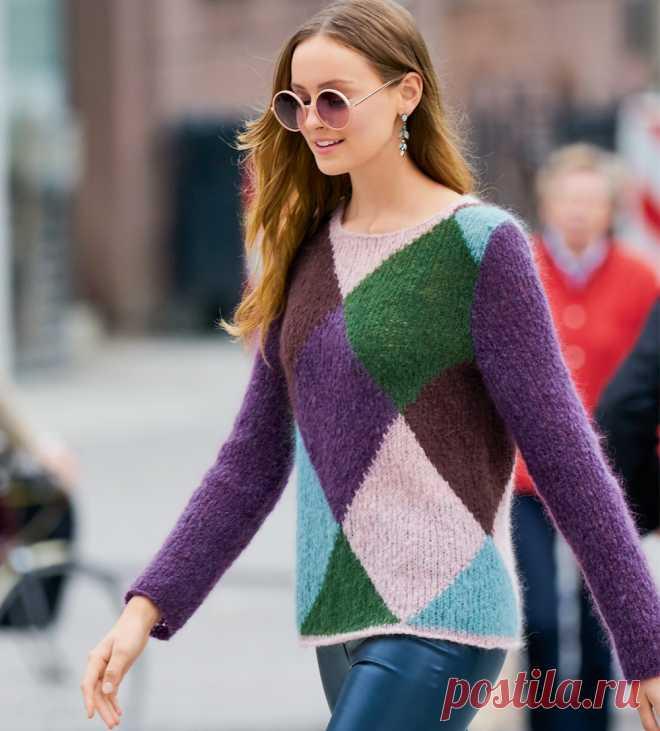 Джемпер с цветными ромбами - схема вязания спицами