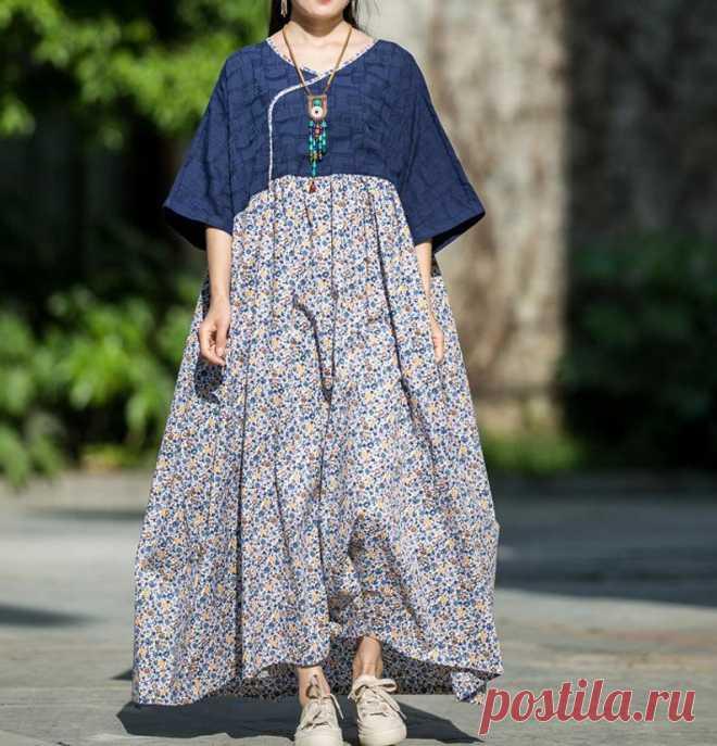 Women summer Plus Size Dresses Floral Dresses Cotton Half   Etsy