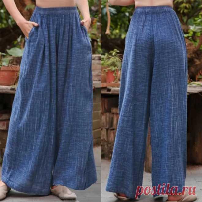 Женские широкие брюки ZANZEA размера плюс, повседневные длинные брюки палаццо с эластичным поясом, летние однотонные брюки для женщин | Брюки