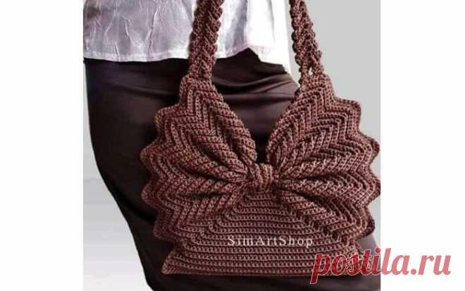 a72a73eb3e47 Элегантная вязаная сумочка. Крючком   Вязание сумки   Постила