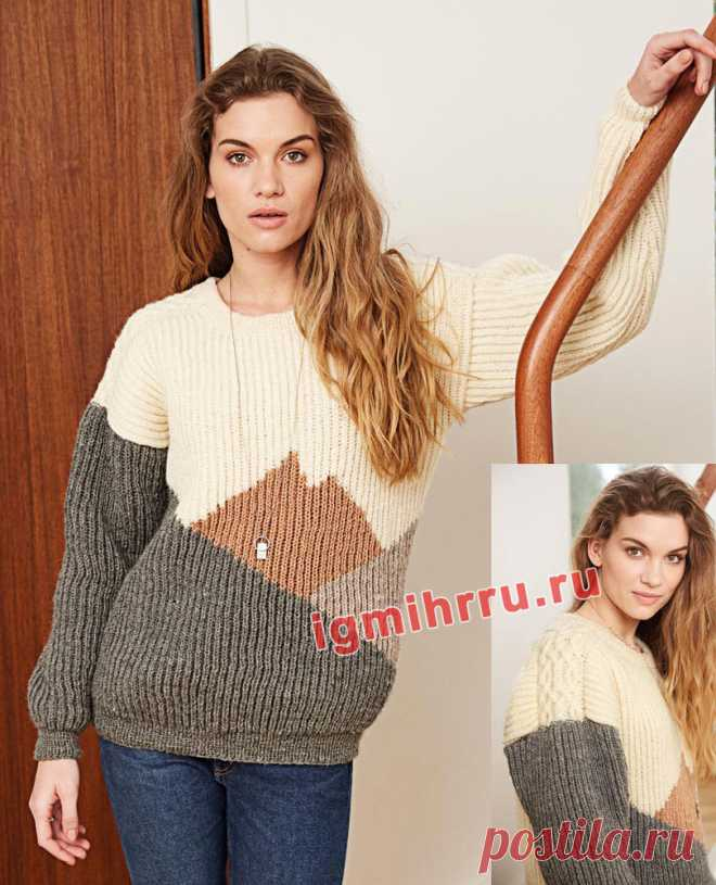 Пуловер с патентным узором и «косами» на плечах. Вязание спицами со схемами и описанием