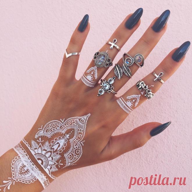 Мехенди белой хной | FunTattoo.ru