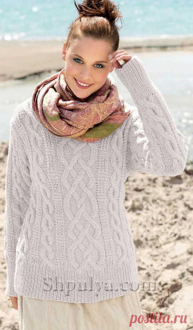 Пуловер с узором из кос и рельефным узором - SHPULYA.com