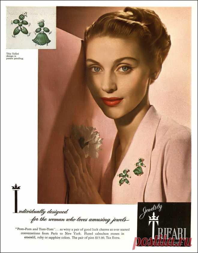 Ricki VanDusen, Trifari jewelry ad, Harper's Bazaar, June 1949