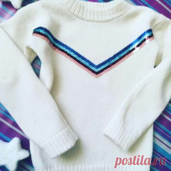 вязаный свитер с вышивкой из пайеток ручной работы подарки ручной