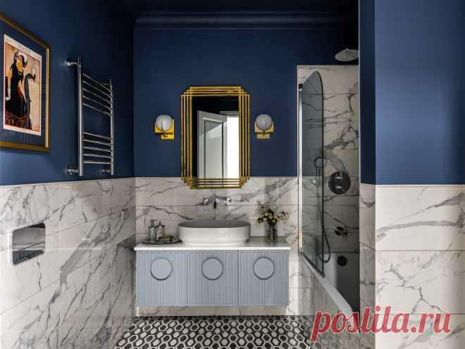 Проект недели: Элегантная ванная с хозяйственным блоком | Houzz Россия