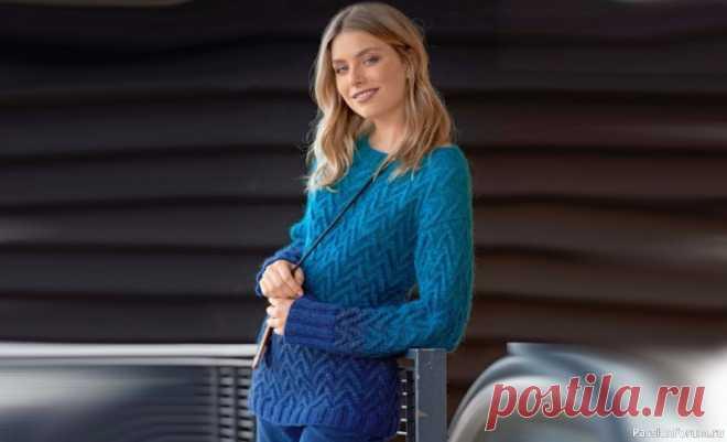 Женский пуловер из пряжи секционного крашения | Вязание  спицами.