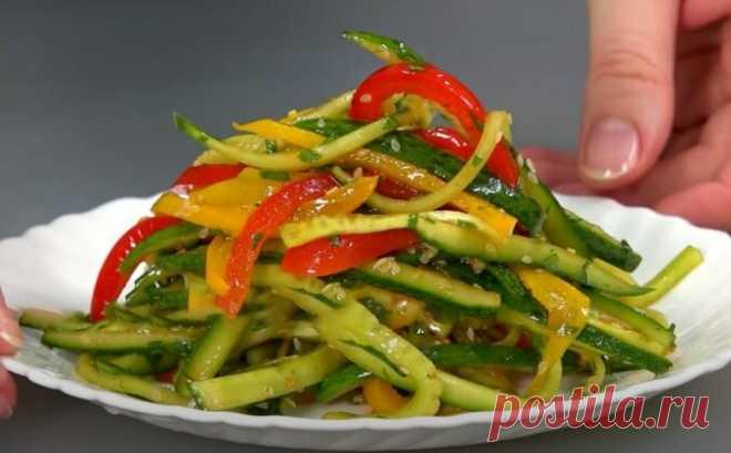Салат из огурца и перца болгарского сладкого | ИноЕда - кулинарные рецепты блюд | Яндекс Дзен