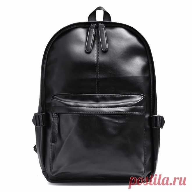 Vintage leather backpack waterproof laptop black bag school shoulder bag rucksack camping travel business Sale - Banggood.com
