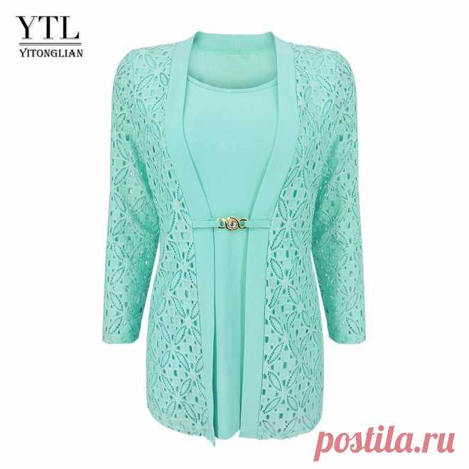 YTL женская блузка размера плюс из двух частей с рукавом 3/4 мятный Офисная Рабочая деловая кружевная брошь на пояс Туника Топ рубашка H384 | Блузки и рубашки