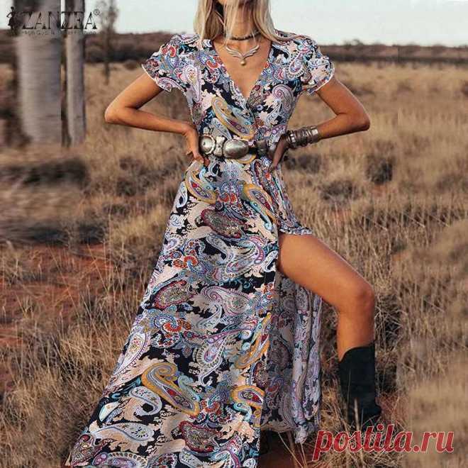 1215.11руб. 39% СКИДКА|Платье ZANZEA женское с разрезом на подоле, пикантный праздничный сарафан с богемным принтом, Длинный Цветочный сарафан с коротким рукавом и V образным вырезом, 5XL, на лето|Платья|   | АлиЭкспресс Покупай умнее, живи веселее! Aliexpress.com