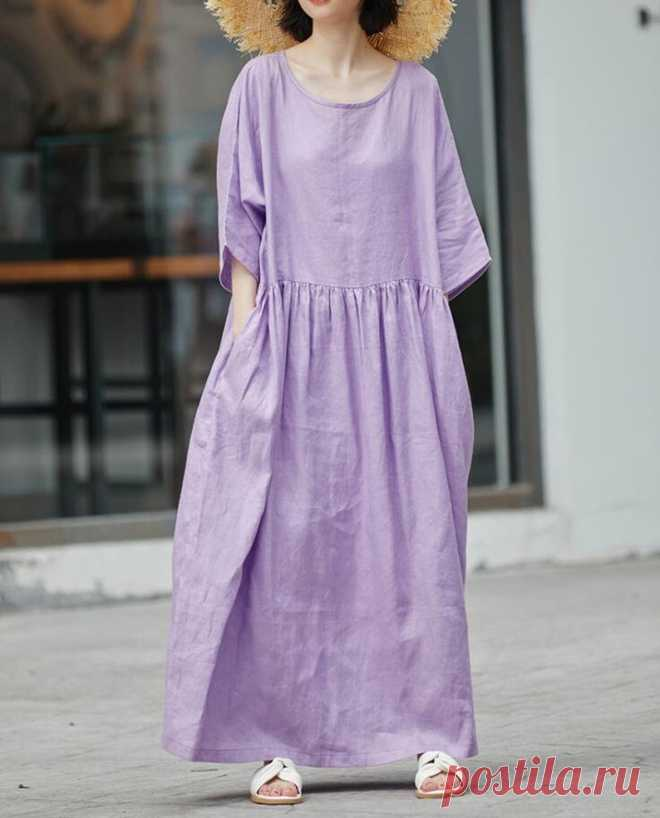Womens purple long Dress linen Maxi dress cocktail Dress   Etsy