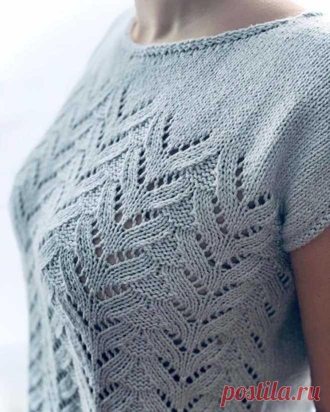 Ажурный топ с узором «Елочка» (Вязание спицами) – Журнал Вдохновение Рукодельницы