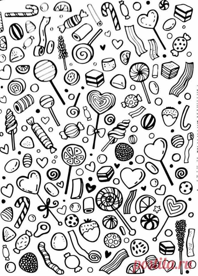 бесплатно еда раскраски для взрослых рисовака картинки