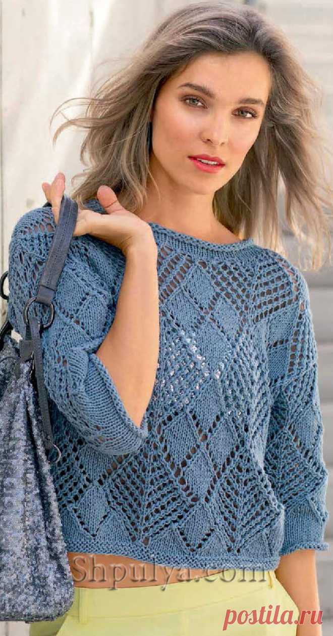 Пуловер из ажурных ромбов, вязаный спицами - SHPULYA.com