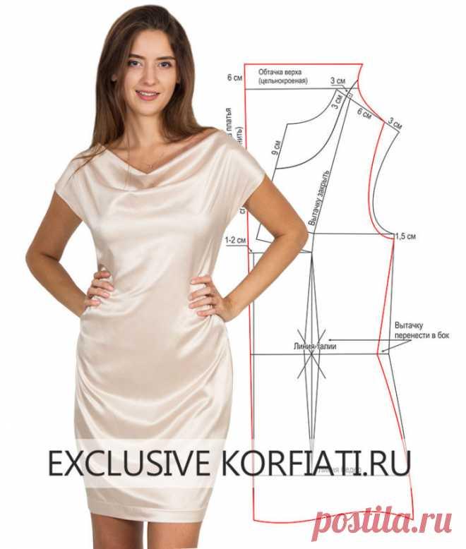 770edefa294 Выкройка платья с драпировкой качели от Анастасии Корфиати ...