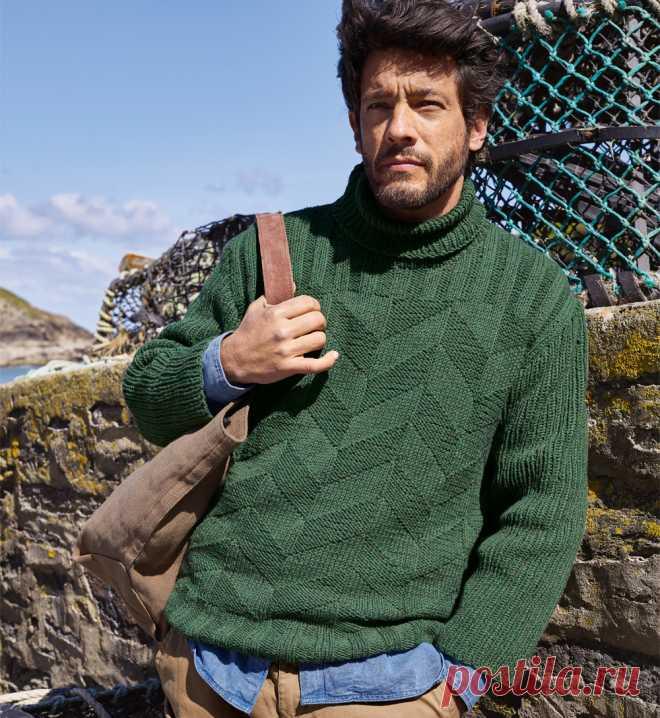 зеленый мужской свитер с воротником гольф схема вязания спицами