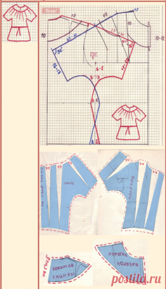Моделирование :  1Блуза с цельно-кроенным рукавом на кокетке
