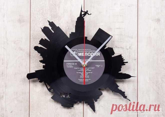 Часы из виниловой пластинки «Нью-Йорк» купить подарок в ArtSkills: фото, цена, отзывы