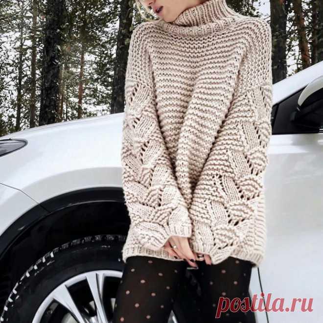 Стильный узор для объёмного свитера из категории Интересные идеи – Вязаные идеи, идеи для вязания