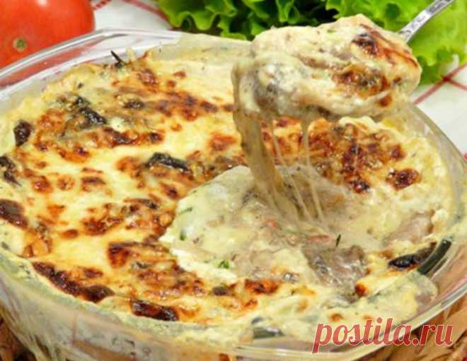 Грибная сливочно-сырная запеканка