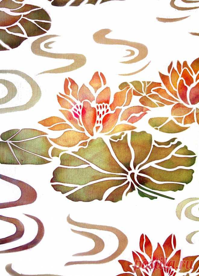 Water lilies stencil henny donovan motif 3 elegant lotus flower water lilies stencil henny donovan motif 3 elegant lotus flower water lily motifs 3 sheet mightylinksfo