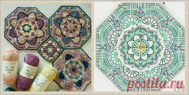 Шикарные восьмиугольные мотивы со схемами и примерами расцветок для вязания пледа или пальто | МНЕ ИНТЕРЕСНО | Яндекс Дзен