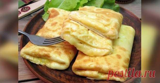 Конвертики из омлета с сыром: