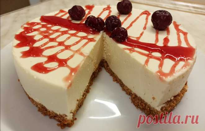 Чизкейк творожный без выпечки/нежный торт - Домашняя кулинария - медиаплатформа МирТесен