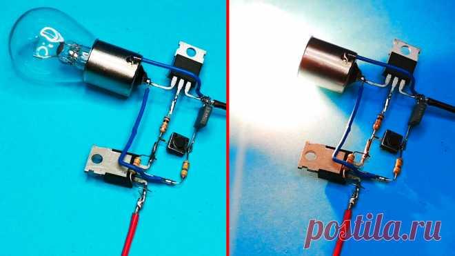 Транзисторный переключатель для управления мощной нагрузкой кнопкой без фиксации Переключатель предназначен преимущественно для управления 12-вольтовыми автомобильными лампочками безопасного освещения, которые устанавливаются в погребах и иных местах с повышенной сыростью, где это требуется из соображений электробезопасности. Может использоваться для коммутации иных