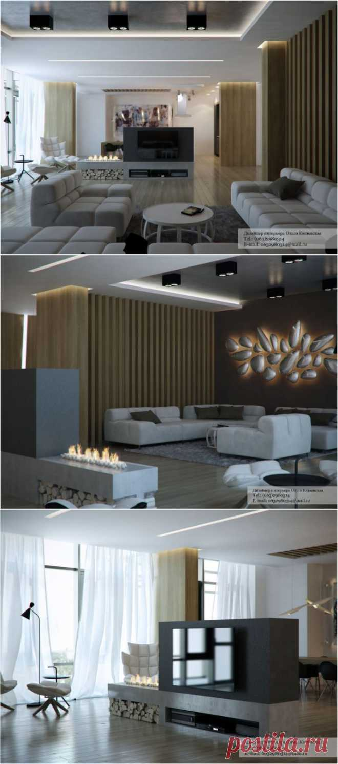 Дизайн интерьера большой гостиной в стиле минимализм | Дом-Цветник