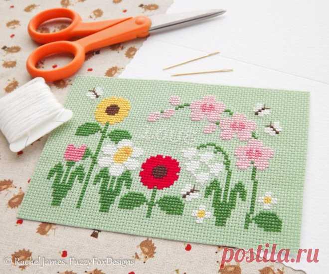 Pretty Flowers Mother's Day Card Cross Stitch Pattern PDF | Etsy