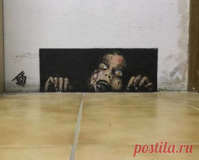 Художник вписывает граффити в реальность