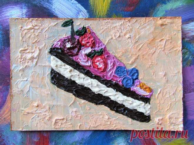 Dessert Cake Painting Decor Food Impasto Oil Painting Art   Etsy