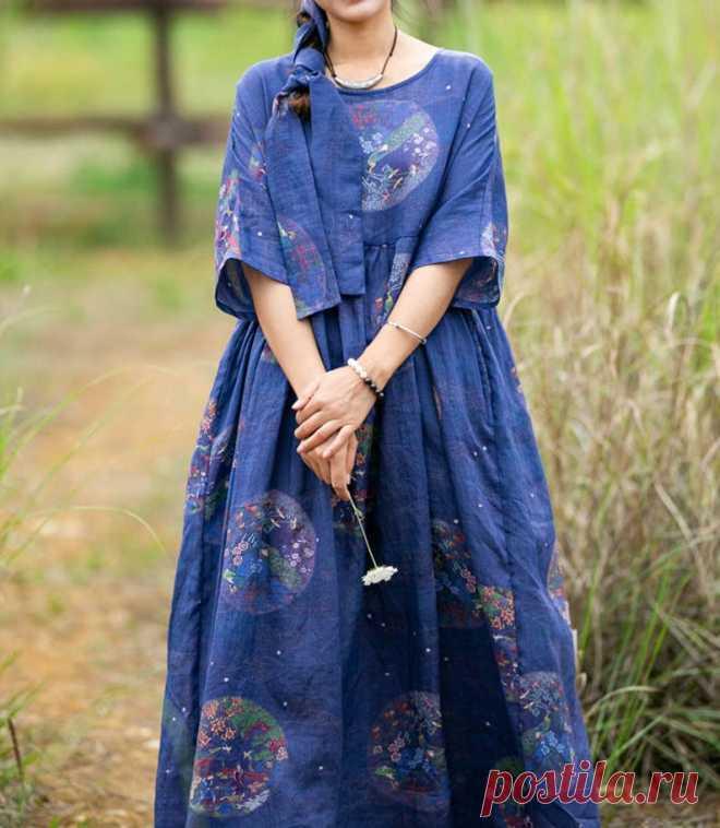 Women long dress ramie Printed dress Plus size maxi dress | Etsy