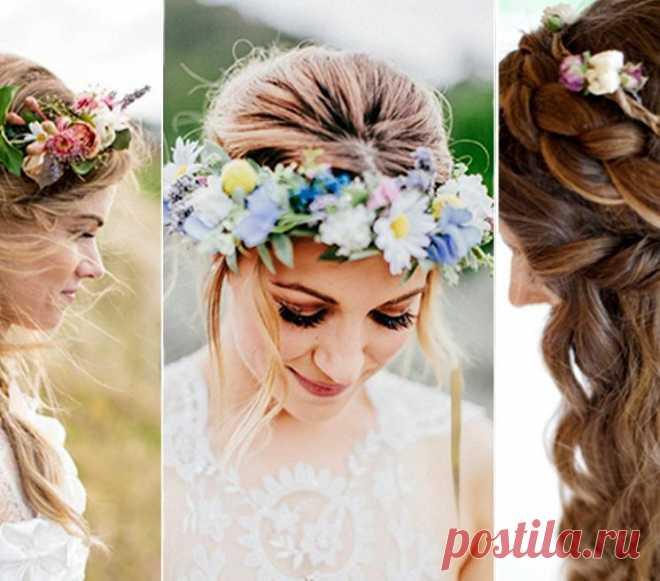 Украшение свадебной прически живыми цветами | ВокругСада.ру