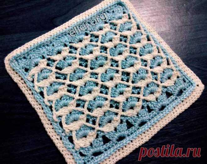 Двухцветный бело-голубой узор для детского пледа | Вязание крючком от Елены Кожухарь