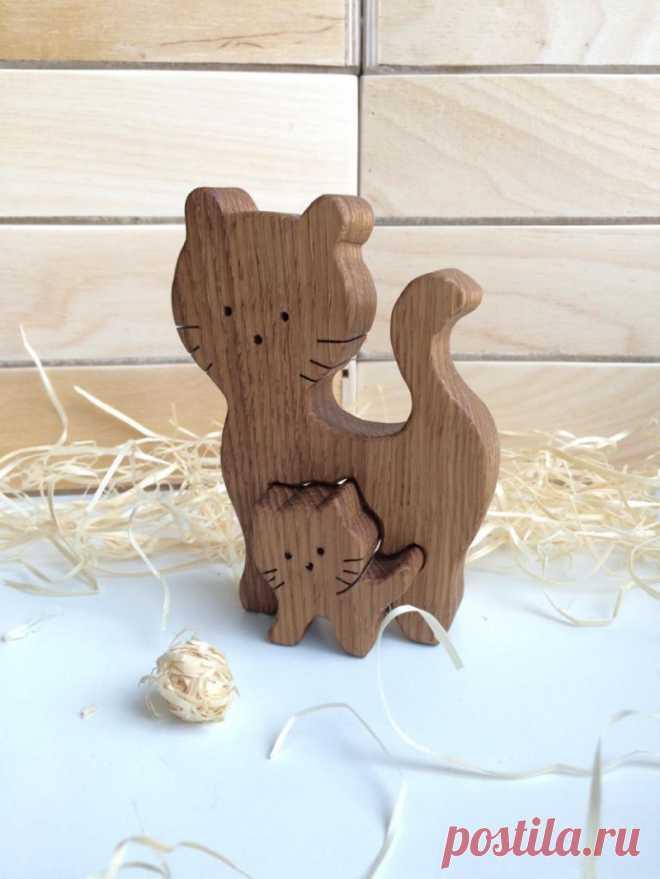 Подарок маме из дерева Мама-кошка с котенком