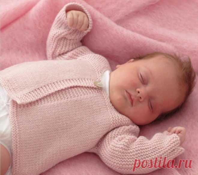 вязаная кофточка для новорожденного вяжем спицами из категории инте