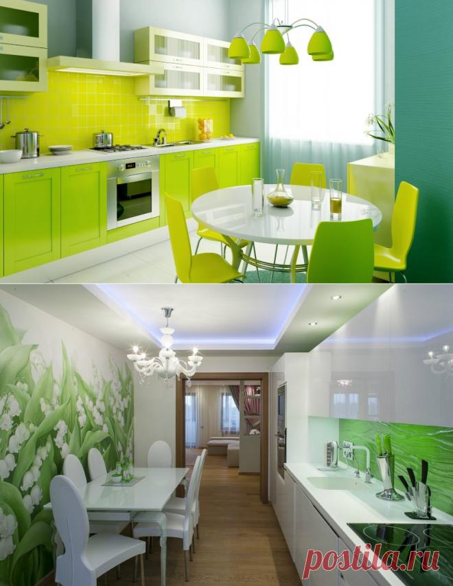 Зеленая кухня в интерьере: дизайн кухни в зеленых тонах