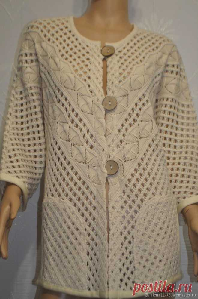 Beautiful Ecru Linen Knitted Cardigan Crocheted Women   Etsy