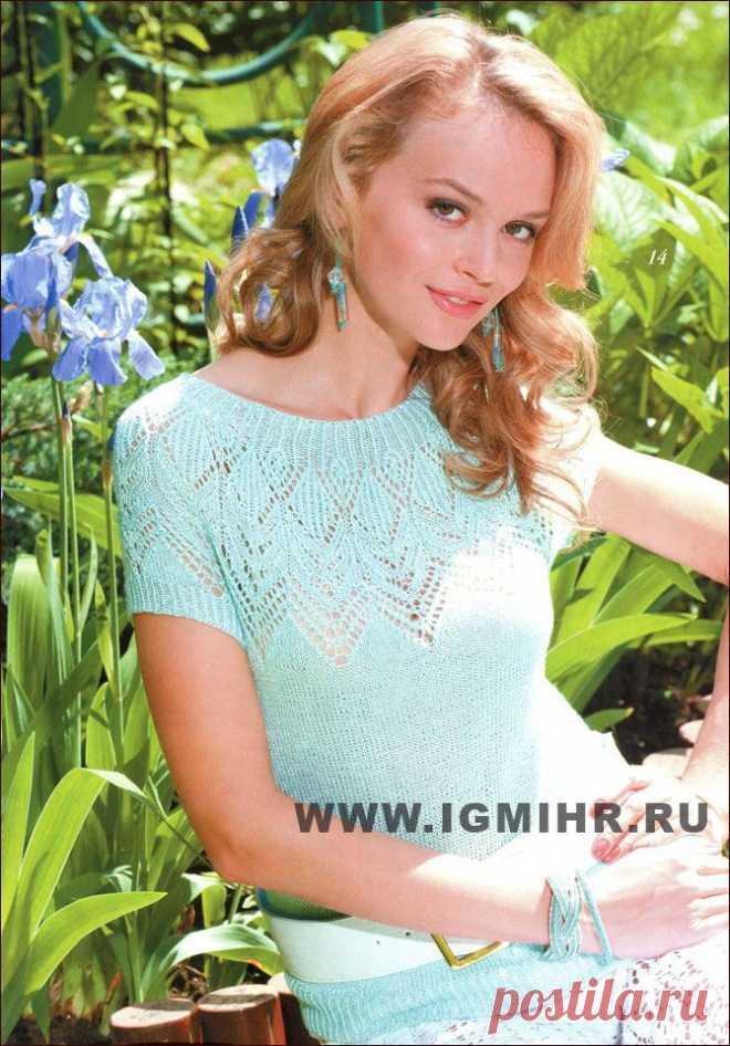 La blusa tierna del color azul con la coqueta chiné.