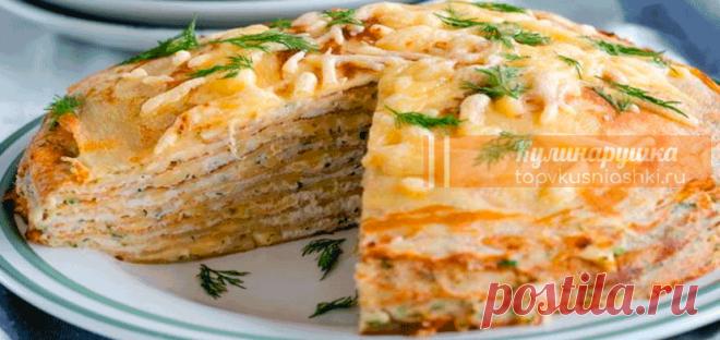 Обалденный блинный торт с курицей и грибами Нежная начинка из курицы с ароматом грибов, никого не оставит равнодушным.
