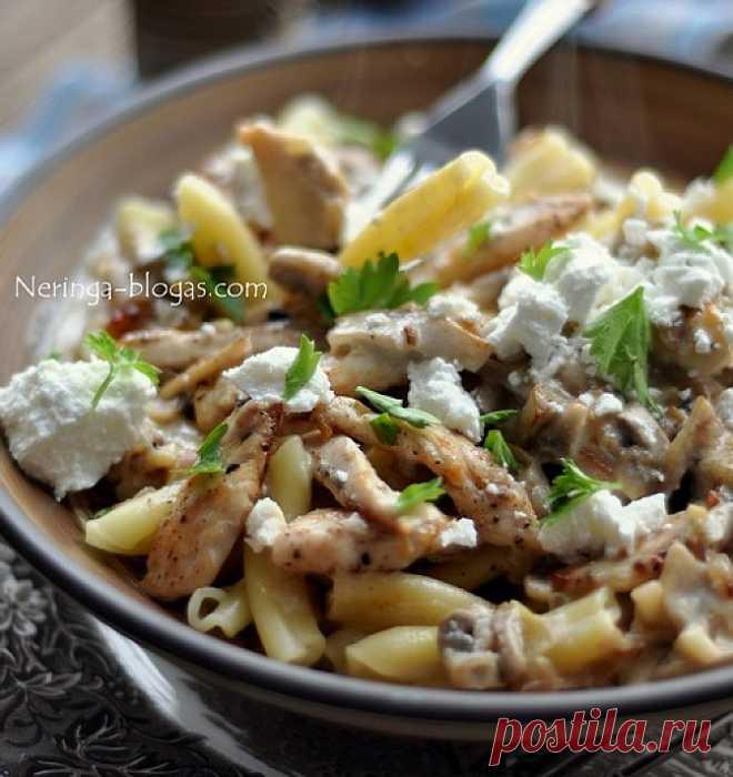 Курица с макаронами и грибным соусом Курица с макаронами и грибным соусом - очень вкусное блюдо, который вы можете легко приготовить по рецепту на этом сайте.Много хороших и проверенных рецептов в одном месте!