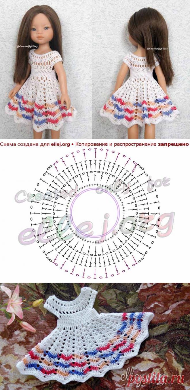 Платье «Лилия» для куклы Паола Рейна | Вязание крючком от Елены Кожухарь