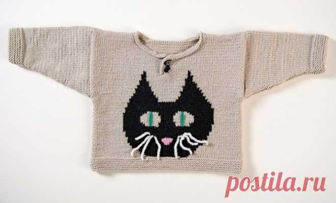 Детский пуловер с милым котиком из категории Интересные идеи – Вязаные идеи, идеи для вязания