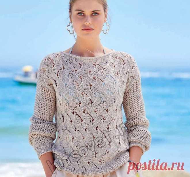 Красивый летний пуловер спицами 2021 - Хитсовет